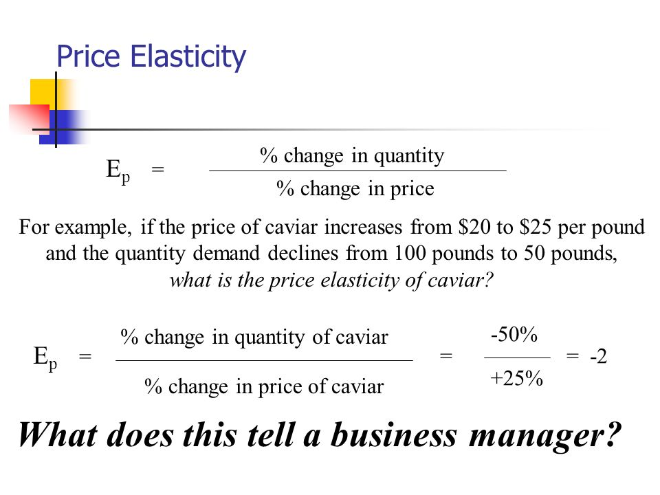 Price Elasticity % change in price % change in quantity E p = For example, if the price of caviar increases from $20 to $25 per pound and the quantity