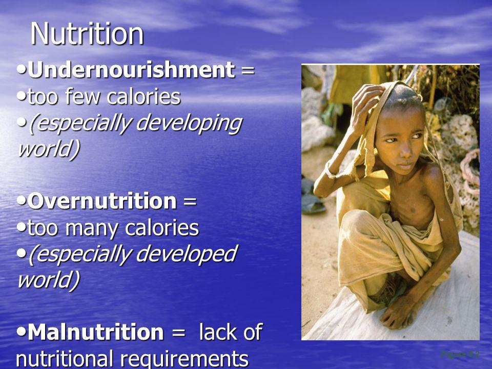 Nutrition Undernourishment = Undernourishment = too few calories too few calories (especially developing world) (especially developing world) Overnutr