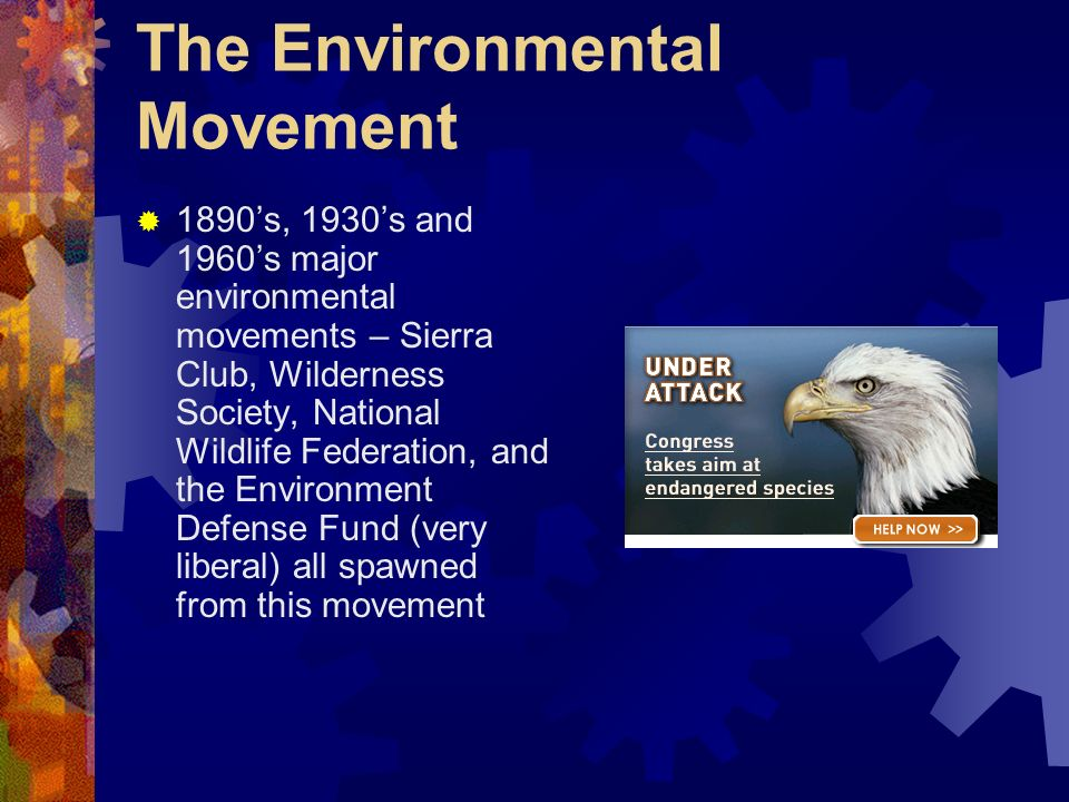 The Environmental Movement 1890s, 1930s and 1960s major environmental movements – Sierra Club, Wilderness Society, National Wildlife Federation, and t