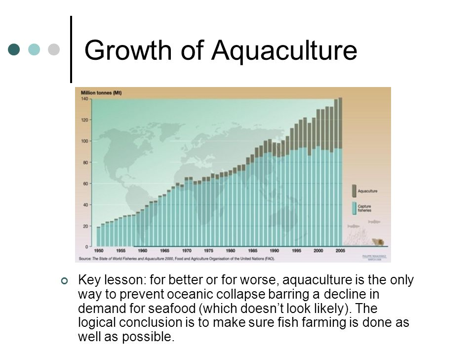 Growth of Aquaculture Key lesson: for better or for worse, aquaculture is the only way to prevent oceanic collapse barring a decline in demand for sea