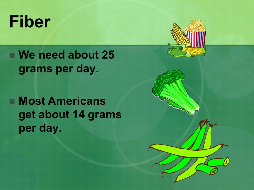 Fiber We need about 25 grams per day. Most Americans get about 14 grams per day.