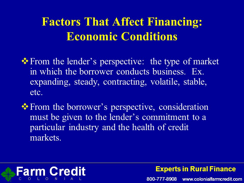 Experts in Rural Finance Experts in Rural Finance Factors That Affect Financing: Economic Conditions From the lenders perspective: the type of market in which the borrower conducts business.