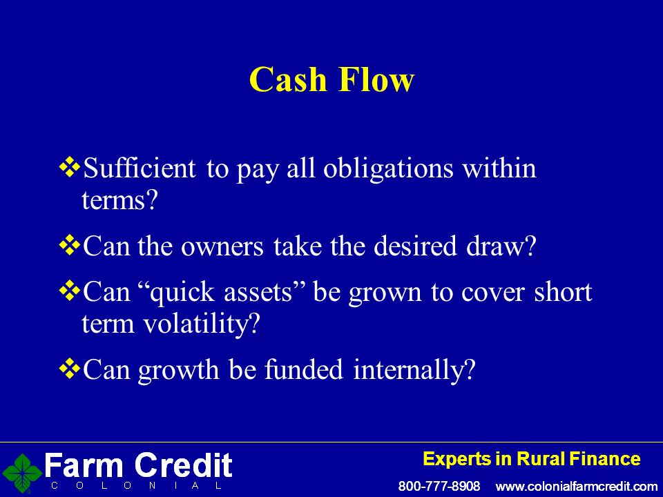 Experts in Rural Finance Experts in Rural Finance Cash Flow Sufficient to pay all obligations within terms.