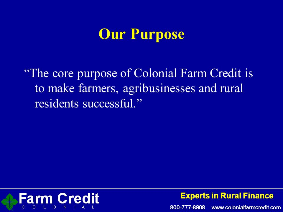 Experts in Rural Finance Experts in Rural Finance Our Purpose The core purpose of Colonial Farm Credit is to make farmers, agribusinesses and rural residents successful.