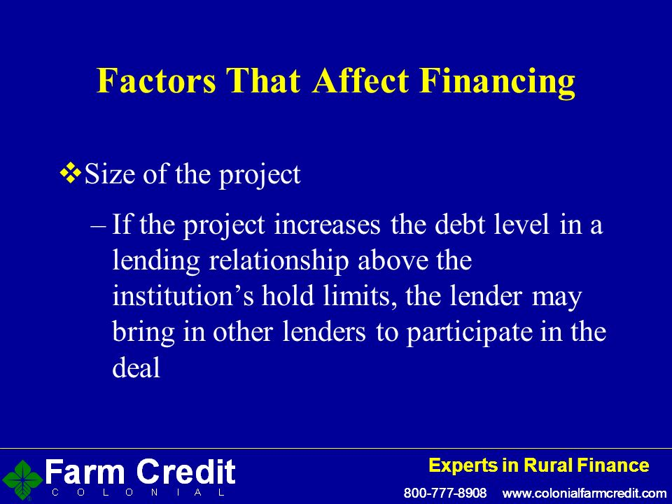 Experts in Rural Finance Experts in Rural Finance Factors That Affect Financing Size of the project –If the project increases the debt level in a lending relationship above the institutions hold limits, the lender may bring in other lenders to participate in the deal