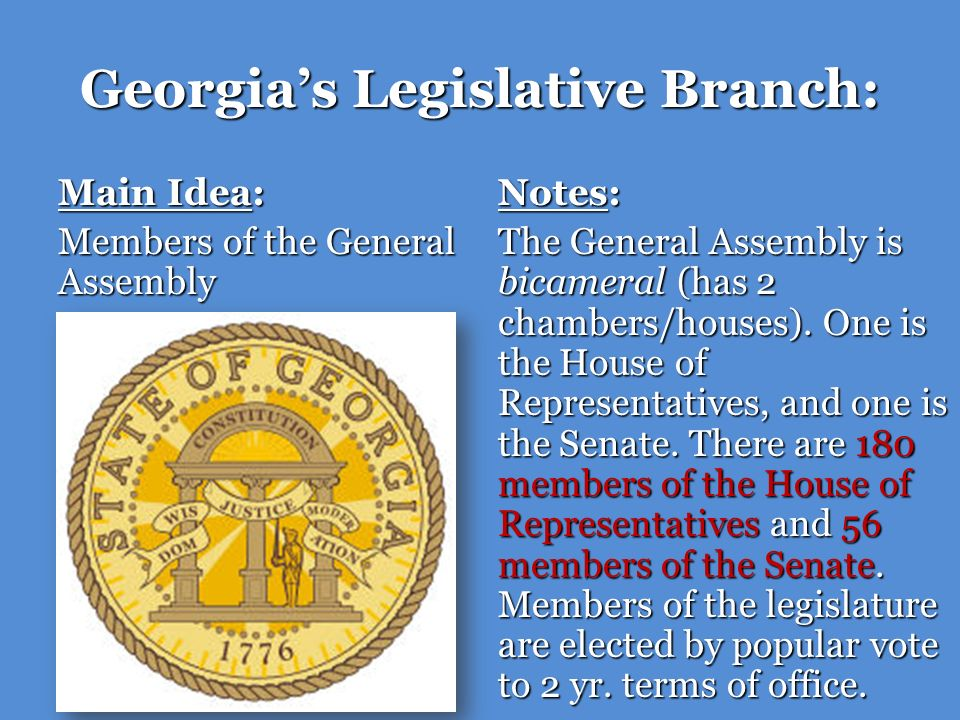 Georgias Legislative Branch: Main Idea: Members of the General Assembly Notes: There is no limit on the number of terms a representative or senator can serve.