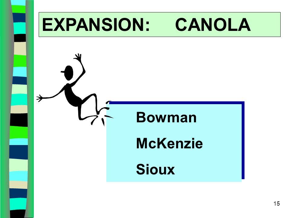 15 EXPANSION: CANOLA Bowman McKenzie Sioux
