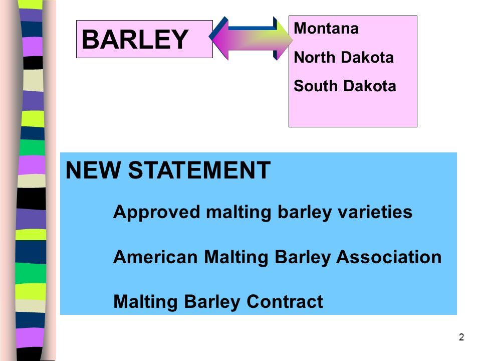2 BARLEY NEW STATEMENT Approved malting barley varieties American Malting Barley Association Malting Barley Contract Montana North Dakota South Dakota