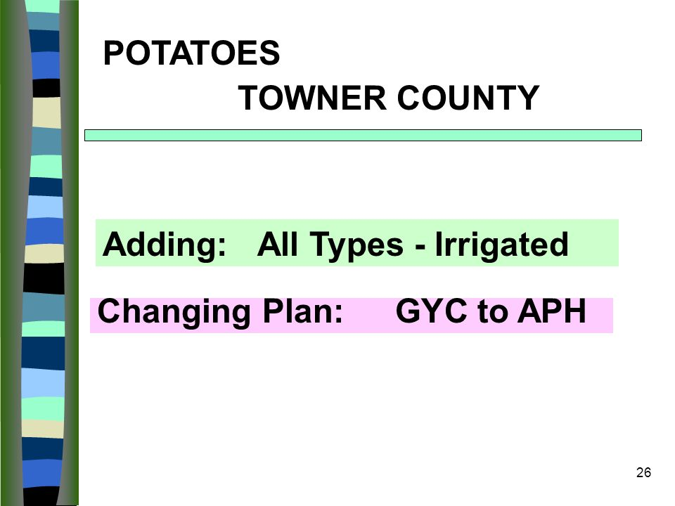 26 POTATOES TOWNER COUNTY Changing Plan: GYC to APH Adding: All Types - Irrigated