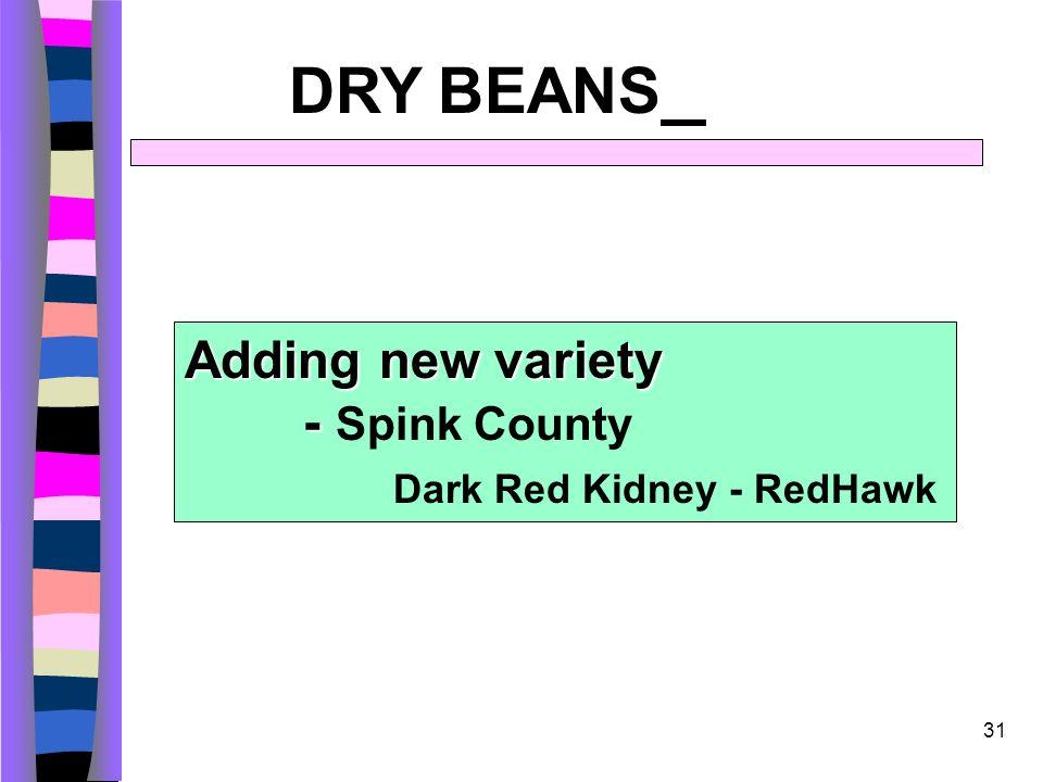 31 DRY BEANS Adding new variety - Adding new variety - Spink County Dark Red Kidney - RedHawk