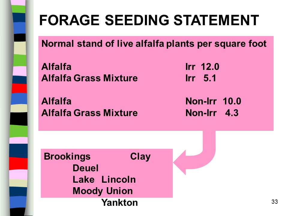 33 Normal stand of live alfalfa plants per square foot Alfalfa Irr 12.0 Alfalfa Grass Mixture Irr 5.1 Alfalfa Non-Irr 10.0 Alfalfa Grass Mixture Non-Irr 4.3 FORAGE SEEDING STATEMENT BrookingsClay Deuel LakeLincoln Moody Union Yankton