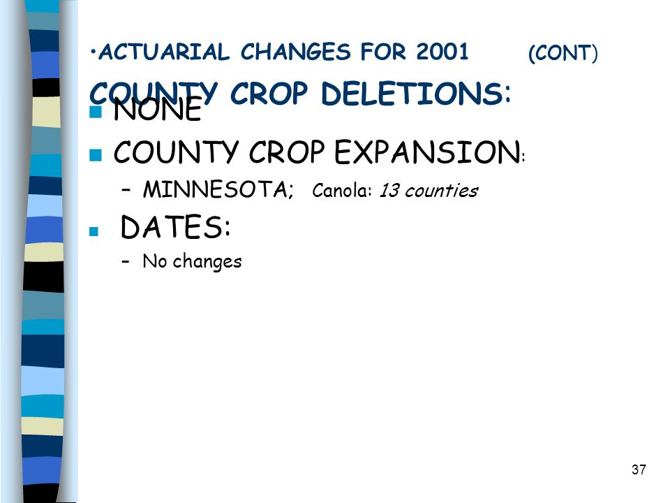 37 ACTUARIAL CHANGES FOR 2001 (CONT) COUNTY CROP DELETIONS : n NONE n COUNTY CROP EXPANSION : –MINNESOTA; Canola: 13 counties n DATES: –No changes