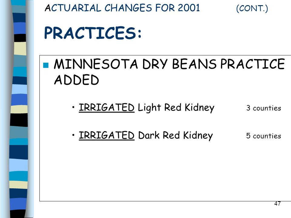 47 ACTUARIAL CHANGES FOR 2001 (CONT.) PRACTICES: n MINNESOTA DRY BEANS PRACTICE ADDED IRRIGATED Light Red Kidney 3 counties IRRIGATED Dark Red Kidney