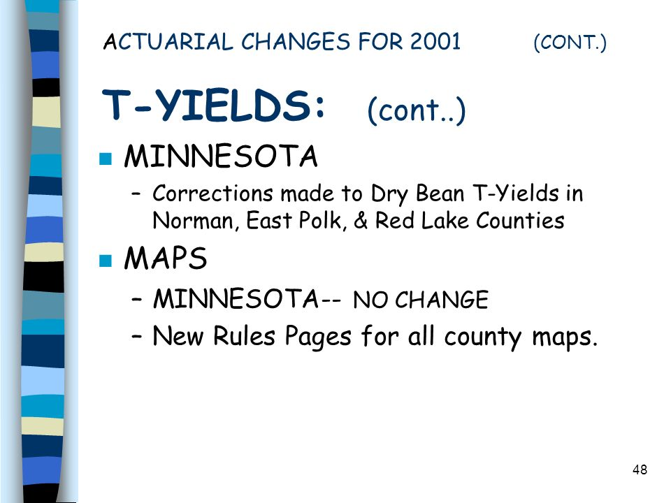 48 ACTUARIAL CHANGES FOR 2001 (CONT.) T-YIELDS: (cont..) n MINNESOTA –Corrections made to Dry Bean T-Yields in Norman, East Polk, & Red Lake Counties n MAPS –MINNESOTA-- NO CHANGE –New Rules Pages for all county maps.
