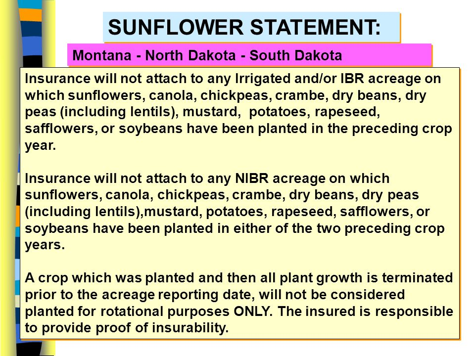 6 SUNFLOWERS Montana - North Dakota - South Dakota NIBR T-Yields Increased to Match IBR T-Yield Separate APH databases are not required