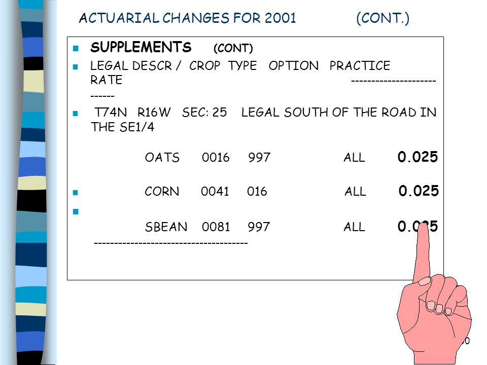50 ACTUARIAL CHANGES FOR 2001 (CONT.) n SUPPLEMENTS (CONT) LEGAL DESCR / CROP TYPE OPTION PRACTICE RATE T74N R16W SEC: 25 LEGAL SOUTH OF THE ROAD IN THE SE1/4 OATS 0016 997 ALL 0.025 n CORN 0041 016 ALL 0.025 SBEAN 0081 997 ALL 0.025