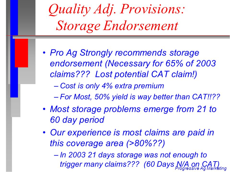 Progressive Ag Marketing 85-15 Example In Storage n Producer has 400 cwt.
