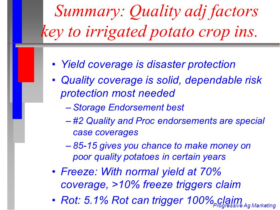 Progressive Ag Marketing Weaknesses in Potato Policy n 1.