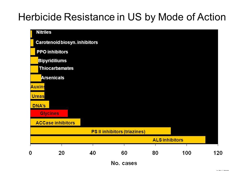 ALS inhibitors PS II inhibitors (triazines) ACCase inhibitors Glycines DNAs Ureas Auxins Arsenicals Bipyridiliums Thiocarbamates PPO inhibitors Carotenoid biosyn.