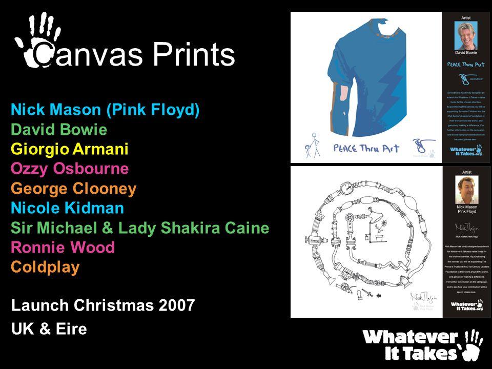 Launch Christmas 2007 UK & Eire Canvas Prints Nick Mason (Pink Floyd) David Bowie Giorgio Armani Ozzy Osbourne George Clooney Nicole Kidman Sir Michae