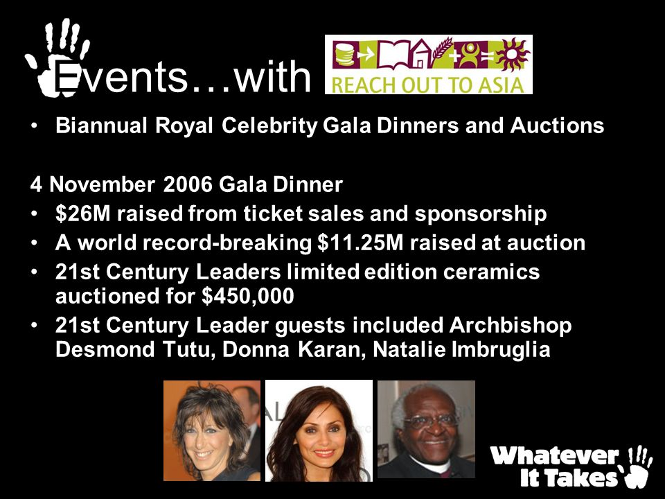 Biannual Royal Celebrity Gala Dinners and Auctions 4 November 2006 Gala Dinner $26M raised from ticket sales and sponsorship A world record-breaking $