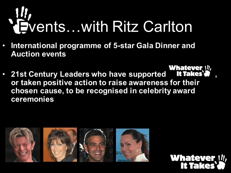 International programme of 5-star Gala Dinner and Auction events 21st Century Leaders who have supported, or taken positive action to raise awareness