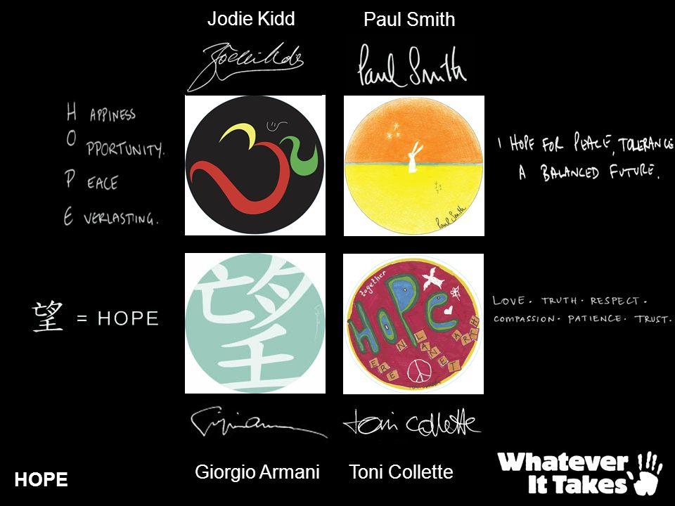 HOPE Jodie Kidd Giorgio Armani Paul Smith Toni Collette