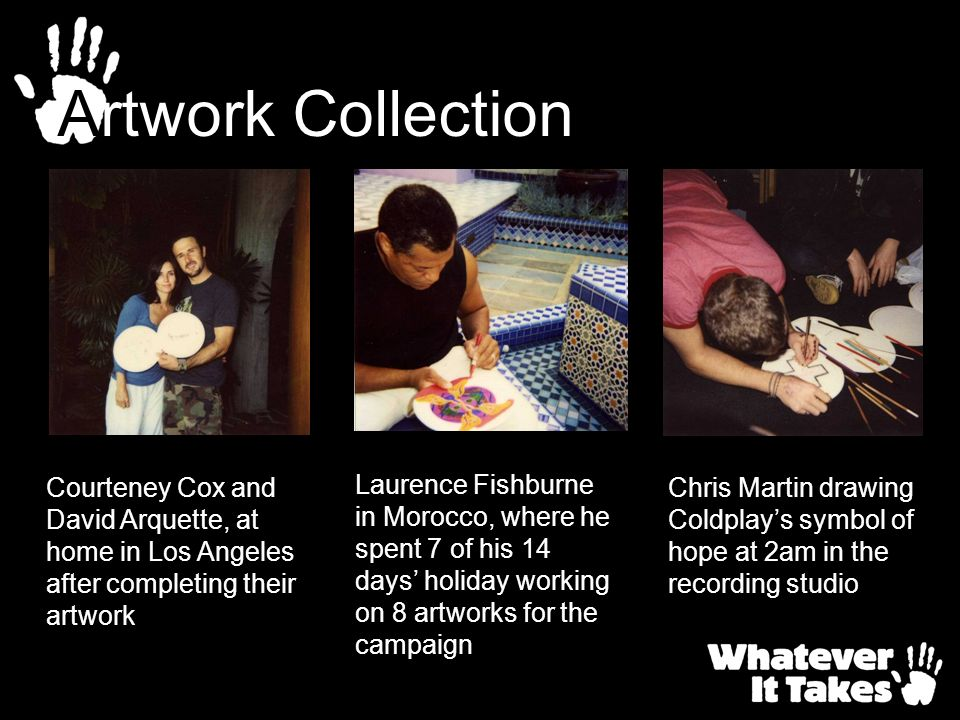 Courteney Cox and David Arquette, at home in Los Angeles after completing their artwork Chris Martin drawing Coldplays symbol of hope at 2am in the re