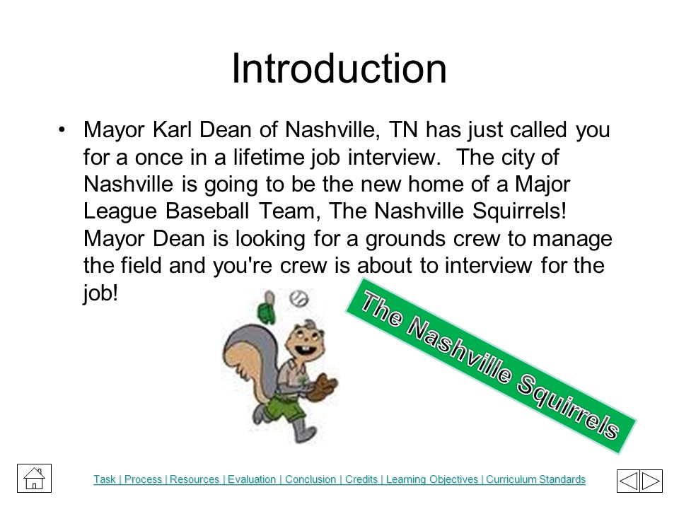 Introduction Mayor Karl Dean of Nashville, TN has just called you for a once in a lifetime job interview. The city of Nashville is going to be the new