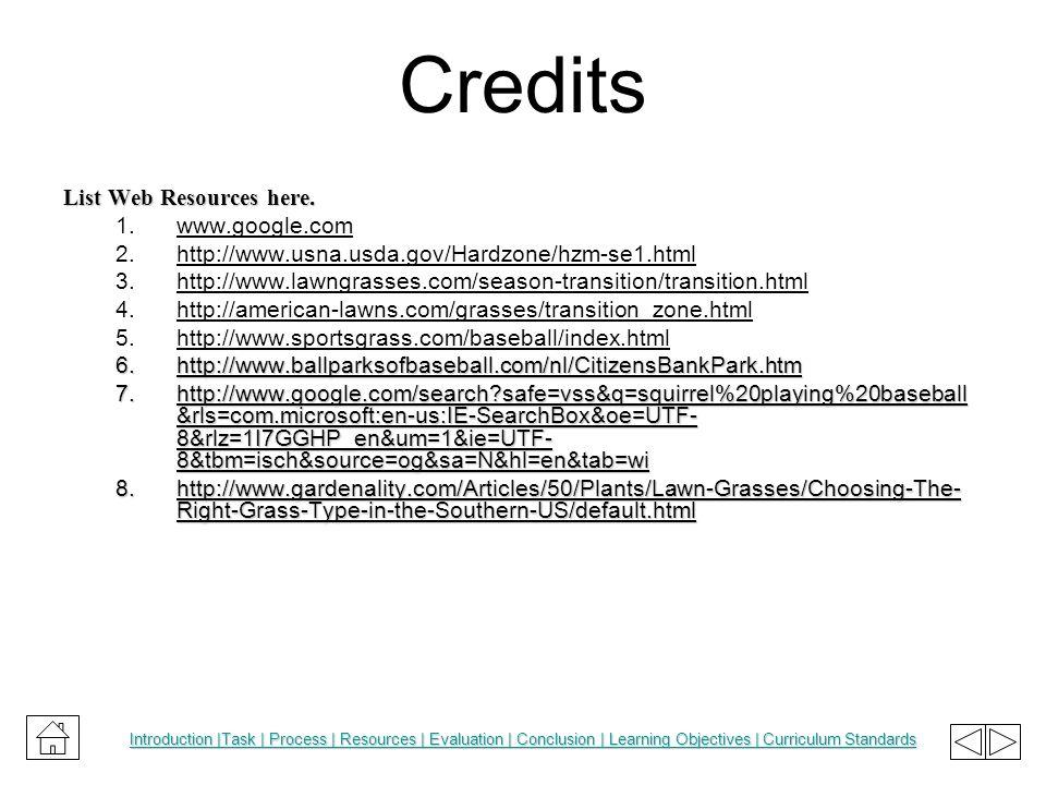 Credits List Web Resources here. 1.www.google.com 2.http://www.usna.usda.gov/Hardzone/hzm-se1.html 3.http://www.lawngrasses.com/season-transition/tran