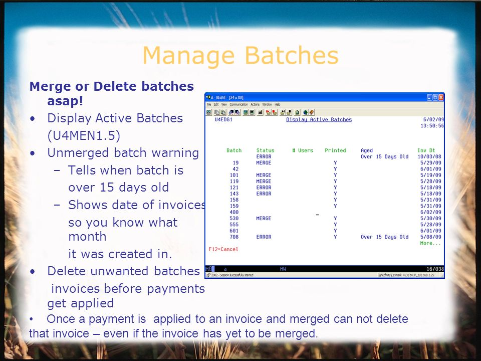 Manage Batches Merge or Delete batches asap.