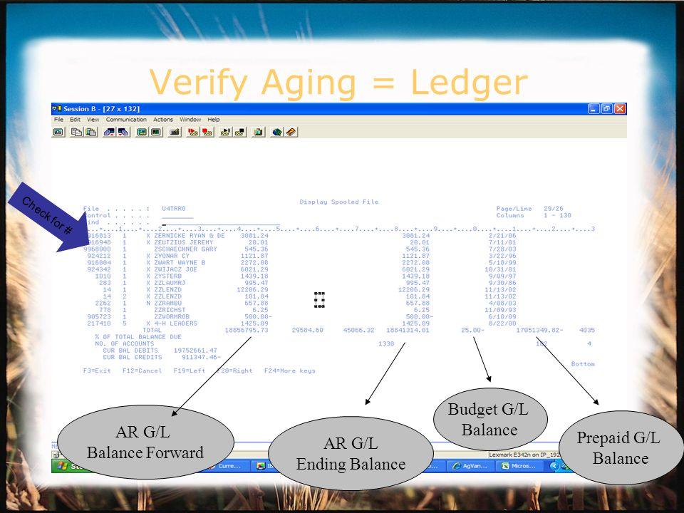 Verify Aging = Ledger AR G/L Balance Forward AR G/L Ending Balance Prepaid G/L Balance Budget G/L Balance Check for #