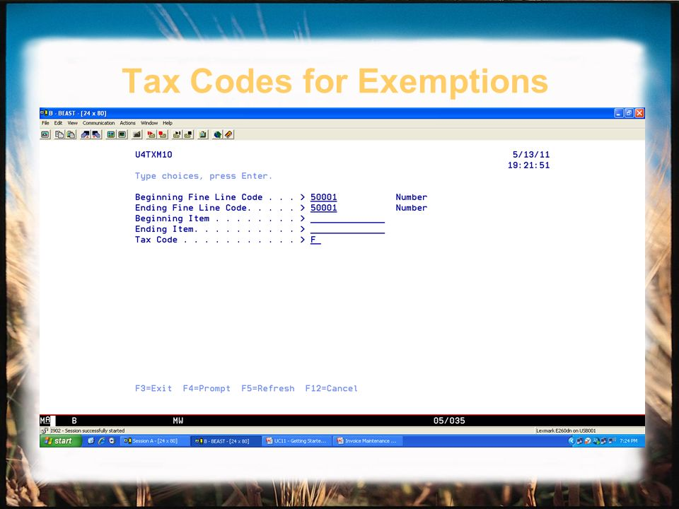 Tax Codes for Exemptions