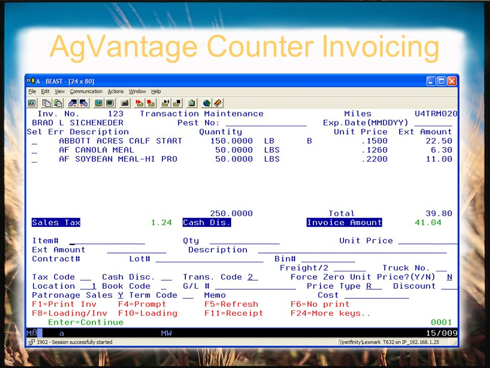 AgVantage Counter Invoicing