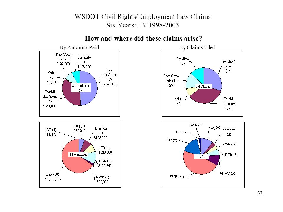 WSDOT Civil Rights/Employment Law Claims Six Years: FY 1998-2003 How and where did these claims arise.