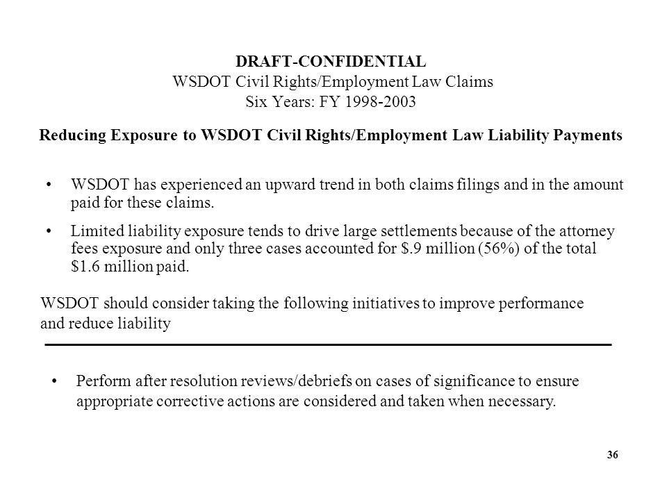 DRAFT-CONFIDENTIAL WSDOT Civil Rights/Employment Law Claims Six Years: FY 1998-2003 Reducing Exposure to WSDOT Civil Rights/Employment Law Liability Payments WSDOT has experienced an upward trend in both claims filings and in the amount paid for these claims.