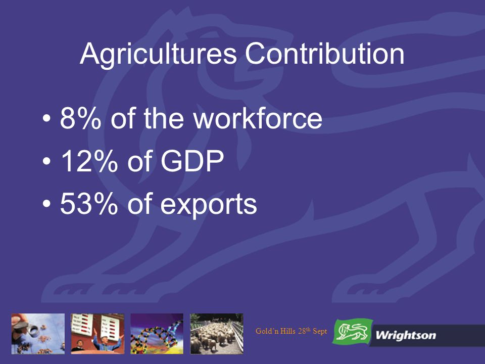 Goldn Hills 28 th Sept Agricultures Contribution 8% of the workforce 12% of GDP 53% of exports