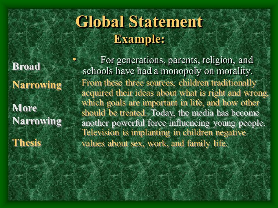 Global Statement Example: For generations, parents, religion, and schools have had a monopoly on morality.
