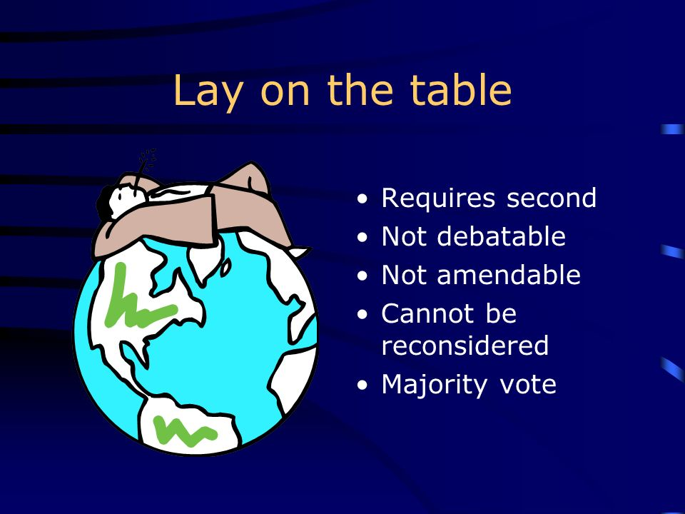 Lay on the table Requires second Not debatable Not amendable Cannot be reconsidered Majority vote