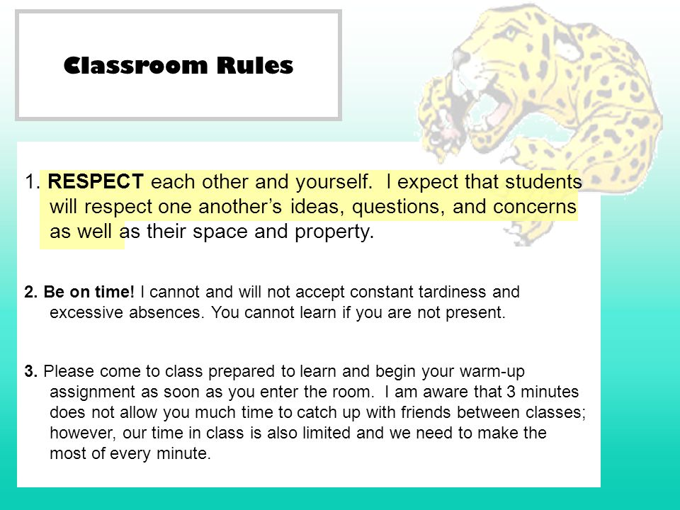Classroom Rules 2. Be on time! I cannot and will not accept constant tardiness and excessive absences. You cannot learn if you are not present. 3. Ple