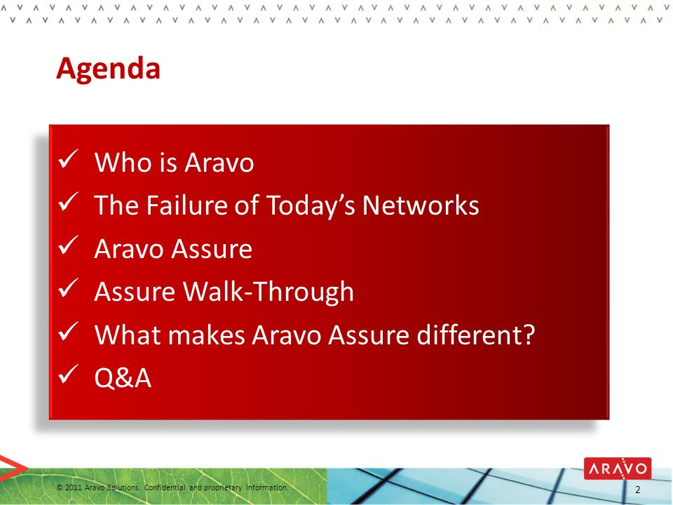2 Agenda Who is Aravo The Failure of Todays Networks Aravo Assure Assure Walk-Through What makes Aravo Assure different? Q&A © 2011 Aravo Solutions. C