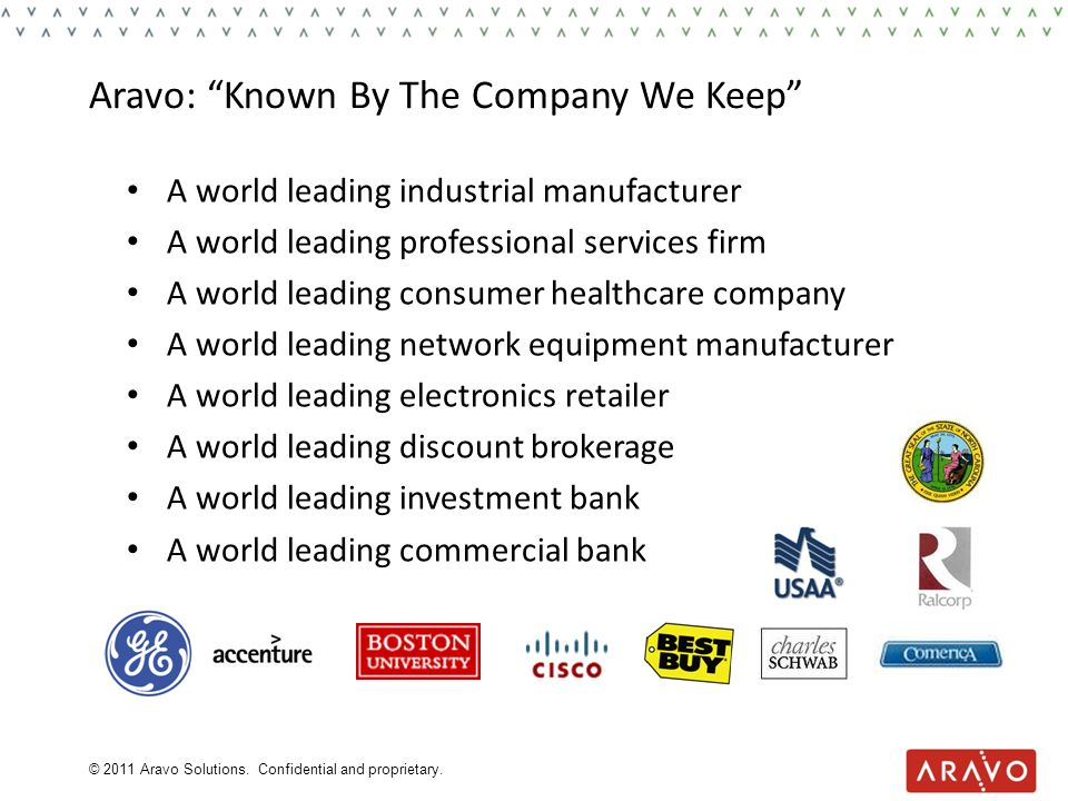 Aravo: Known By The Company We Keep A world leading industrial manufacturer A world leading professional services firm A world leading consumer health