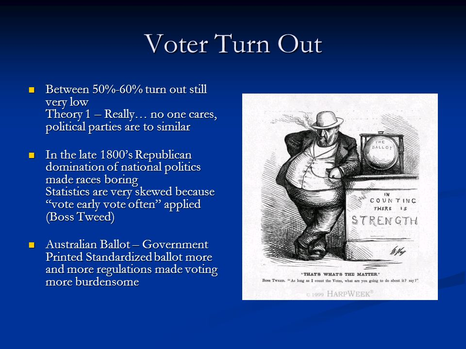 Voter Turn Out Between 50%-60% turn out still very low Theory 1 – Really… no one cares, political parties are to similar Between 50%-60% turn out stil