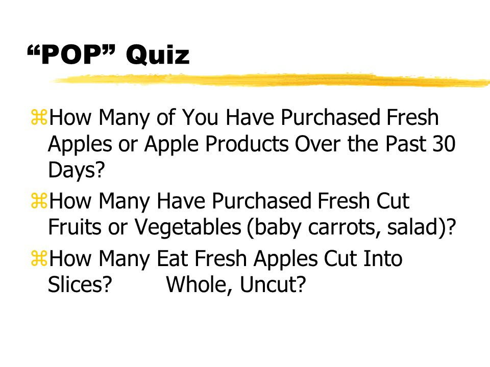 POP Quiz zHow Many of You Have Purchased Fresh Apples or Apple Products Over the Past 30 Days.
