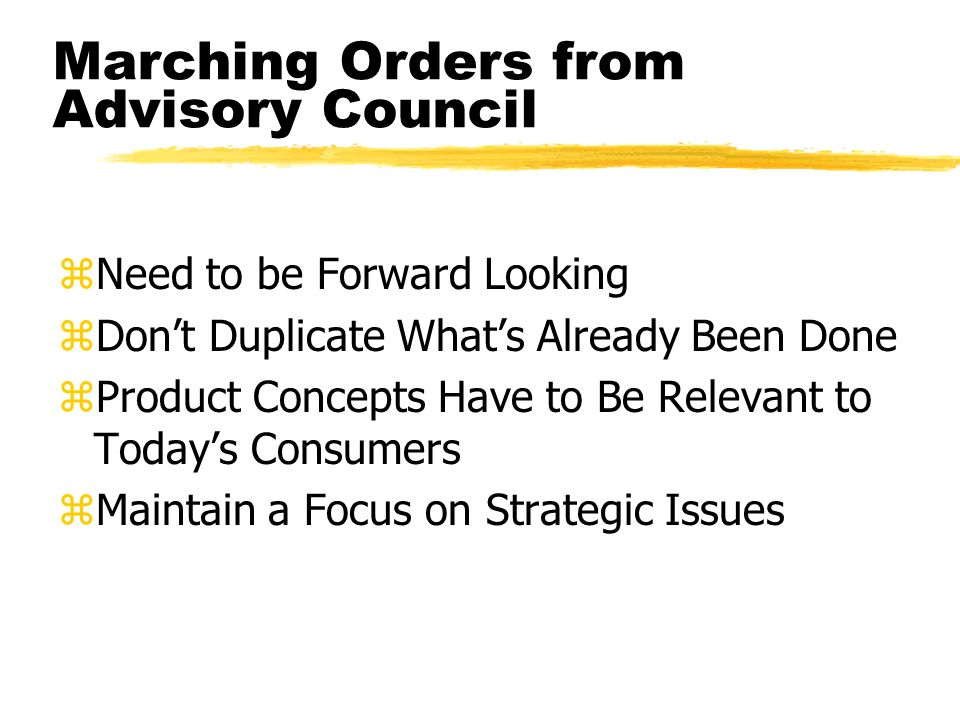 Marching Orders from Advisory Council zNeed to be Forward Looking zDont Duplicate Whats Already Been Done zProduct Concepts Have to Be Relevant to Todays Consumers zMaintain a Focus on Strategic Issues