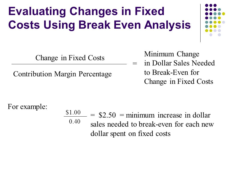 Evaluating Changes in Fixed Costs Using Break Even Analysis Change in Fixed Costs Contribution Margin Percentage = Minimum Change in Dollar Sales Need