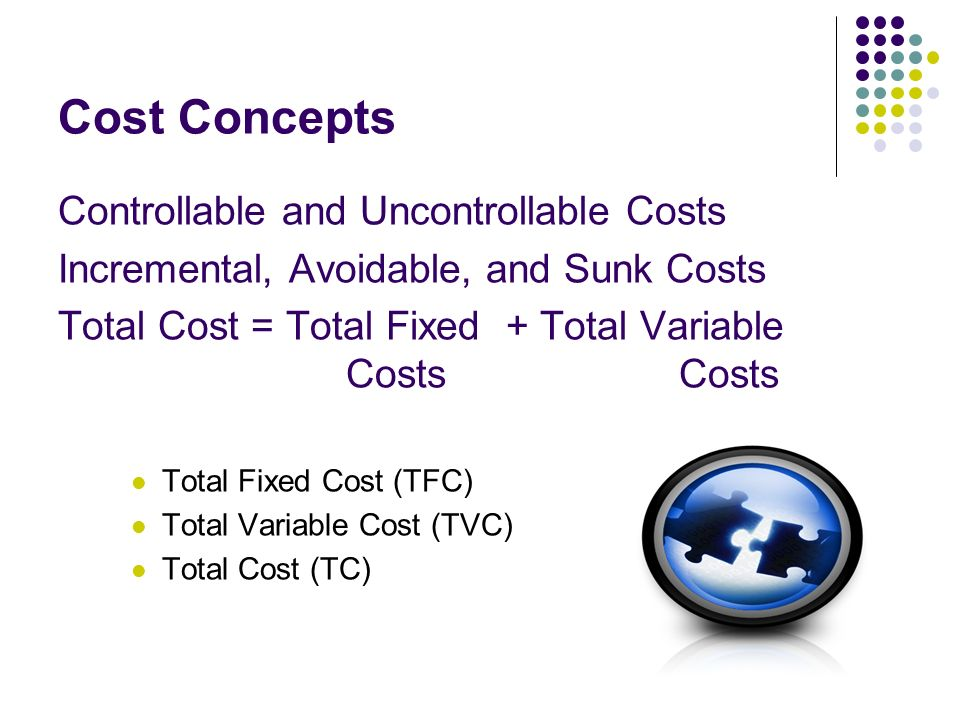Cost Concepts Controllable and Uncontrollable Costs Incremental, Avoidable, and Sunk Costs Total Cost = Total Fixed + Total Variable Costs Costs Total