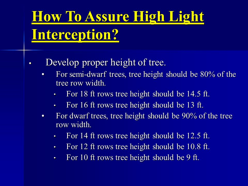 How To Assure High Light Interception? Develop proper height of tree. Develop proper height of tree. For semi-dwarf trees, tree height should be 80% o