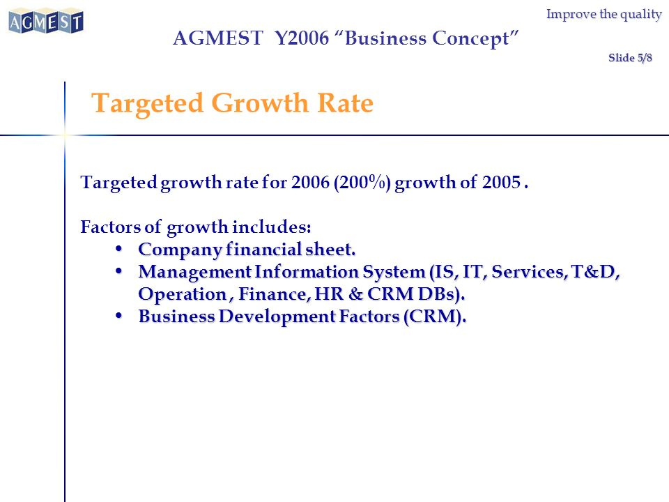 Improve the quality Targeted growth rate for 2006 (200%) growth of 2005.