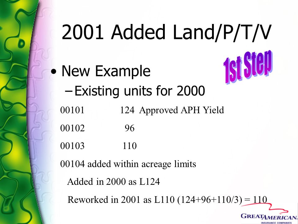 2001 Added Land/P/T/V New Example –Existing units for 2000 00101124 Approved APH Yield 00102 96 00103 110 00104 added within acreage limits Added in 2